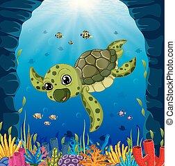 schildpad, onderwater, spotprent