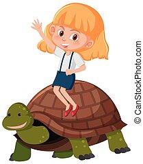 schildpad, paardrijden, meisje