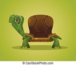 schildpad, plat, vector, oud, character., illustratie, somber, spotprent