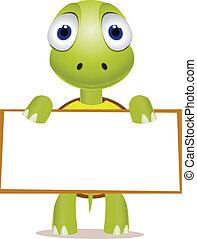 schildpad, schattig, leeg teken