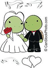 schildpad, schattig, set, spotprent, trouwfeest