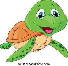 schildpad, schattig, spotprent, zee