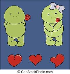 schildpad, set, liefde, roos, baby, spotprent