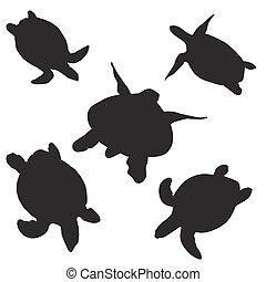 schildpad, silhouettes, vector