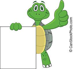 schildpad, spotprent, met, duim boven