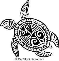 schildpad, stijl, polynesiër