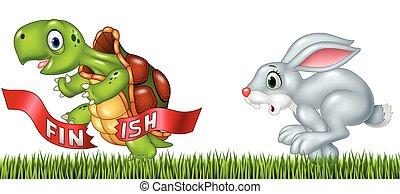 schildpad, winnen, tegen, spotprent, hardloop, konijntje
