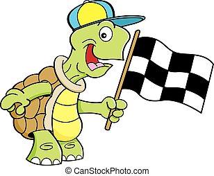 schildpad, zwaaiende , spotprent, flag.