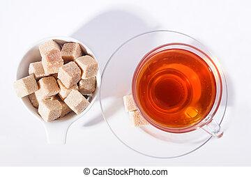 schilfgras, zucker, mit, tasse tee, ungefähr, weißes