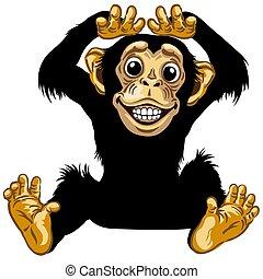 schimpanse, karikatur, glücklich