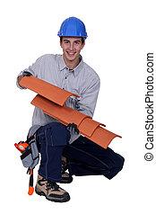 schindeln, arbeiter, besitz, dach