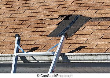 schindeln, beschädigt, dach, reparatur