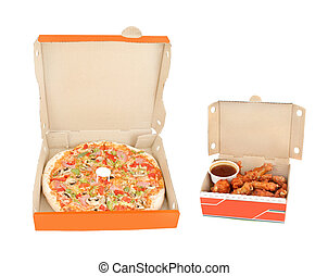 schinkenkate, und, pfeffer, pizza huhn, flügeln, und,...