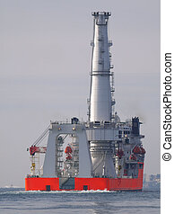 schip, a4, voor de kust
