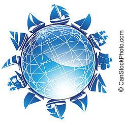 schip, globe, set, nautisch, pictogram