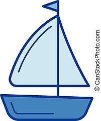 schip, lijn, icon., zeilend