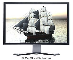 schip, monitor, zeilend
