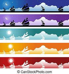 schip, nautisch, set, spandoek, pictogram