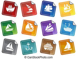 schip, sticker, set, nautisch, pictogram
