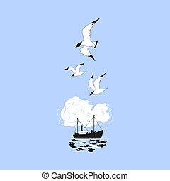 schip, visserij, pictogram