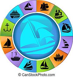 schip, wiel, set, nautisch, pictogram