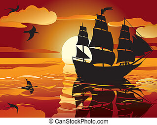 schip, zeilend, sunset.
