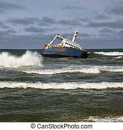 schipbreuk, -, de kust van het skelet, -, namibie