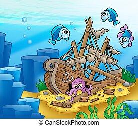 schipbreuk, met, octopus, en, vissen
