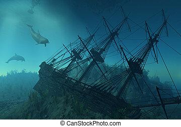 schipbreuk, onder, de, zee