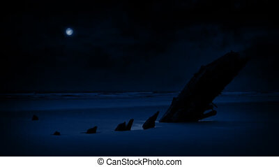 schipbreuk, op, strand, in, de, maanlicht