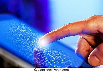 schirm, berühren, closeup, finger, tablet-pc