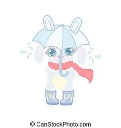 schirm, kaninchen, regen, unter