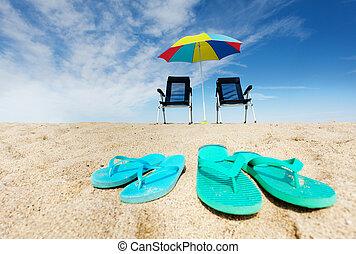 schirm, liegestühle, sonne, schlag- plumpsen, sandstrand