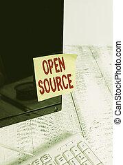 schirm, monitor, aufgenommen, begriff, original, software, source., frei, weißes, wort, aufzeichnung, papier, schwarz, verfügbar, quelle, text, edv, schreibende, denoting, keyboard., geschaeftswelt, rgeöffnete, code