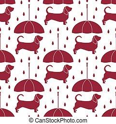 schirm, muster, regen, seamless, hund, unter