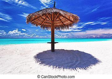 schirm, nächste, sand, lagune, weißer strand