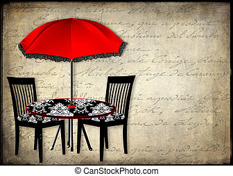 schirm, patio/chairs, rotes