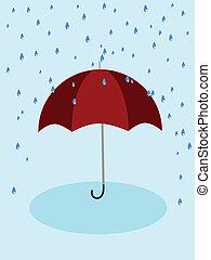 schirm, rotes , regen
