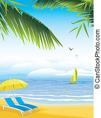 schirm, sandstrand, deckchairs