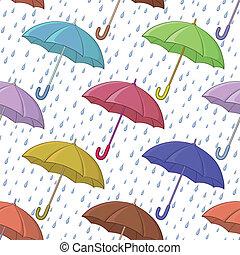 schirm, seamless, hintergrund, regen
