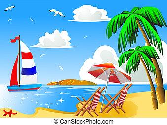 schirm, segelboot, handfläche, meer, stuhl, sandstrand