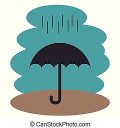 schirm, silhouette, regen