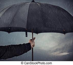 schirm, unter, der, regen