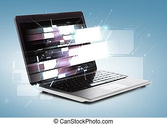 schirme, laptop-computer, virtuell