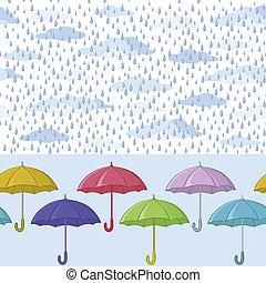 schirme, seamless, hintergrund, regen