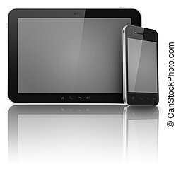 schirme, telefon, schwarz, freigestellt, tablette
