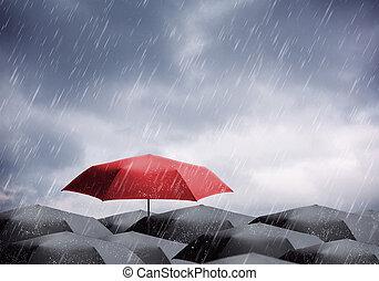 schirme, unter, regen, und, gewitter