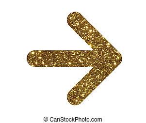 schitteren, gouden, vrijstaand, richtingwijzer, plat, pictogram