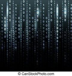 schittering, binaire code, scherm, lijst, tafel, op, zwarte...