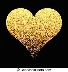 schittering, goud, achtergrond, hart